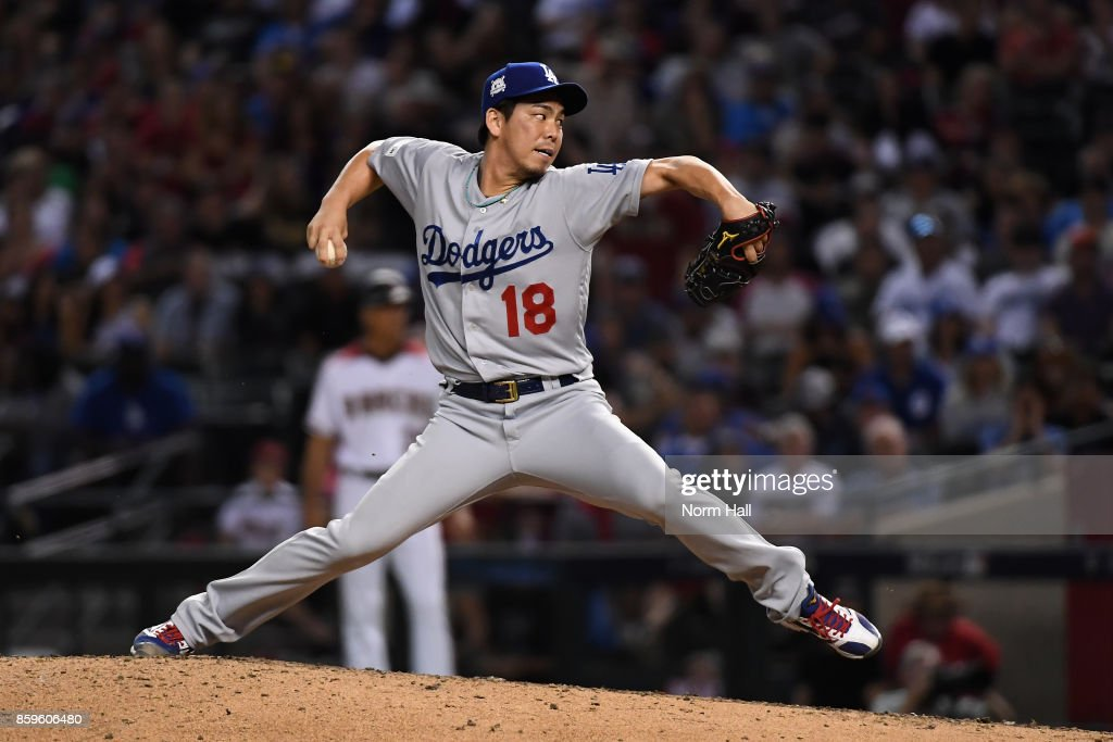 Pitcher Kenta Maeda #18 of the Los Angeles Dodgers throws during the eighth inning of the National League Divisional Series game three against the Arizona Diamondbacks at Chase Field on October 9, 2017 in Phoenix, Arizona.