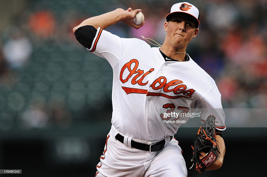 Pitcher Kevin Gausman #37 of the Baltimore Orioles works the second inning against the Boston Red Sox at Oriole Park at Camden Yards on June 13, 2013 in Baltimore, Maryland.