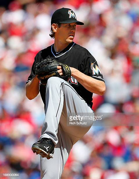 Pitcher Kevin Slowey of the Miami Marlins delivers a pitch against the Philadelphia Phillies in an MLB baseball game on May 5 2013 at Citizens Bank...