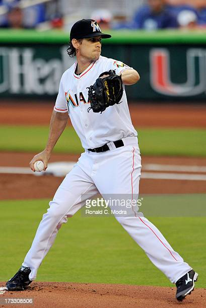 Pitcher Kevin Slowey of the Miami Marlins pitches during a MLB game against the Atlanta Braves at Marlins Park on July 8 2013 in Miami Florida