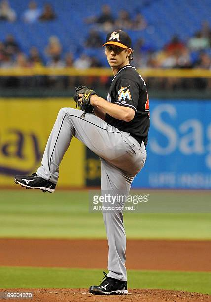 Pitcher Kevin Slowey of the Miami Marlins starts against the Tampa Bay Rays May 28 2013 at Tropicana Field in St Petersburg Florida
