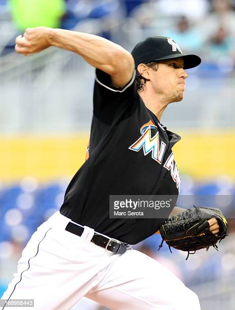 Pitcher Kevin Slowey of the Miami Marlins throws against the Arizona Diamondbacks at Marlins Park on May 17 2013 in Miami Florida