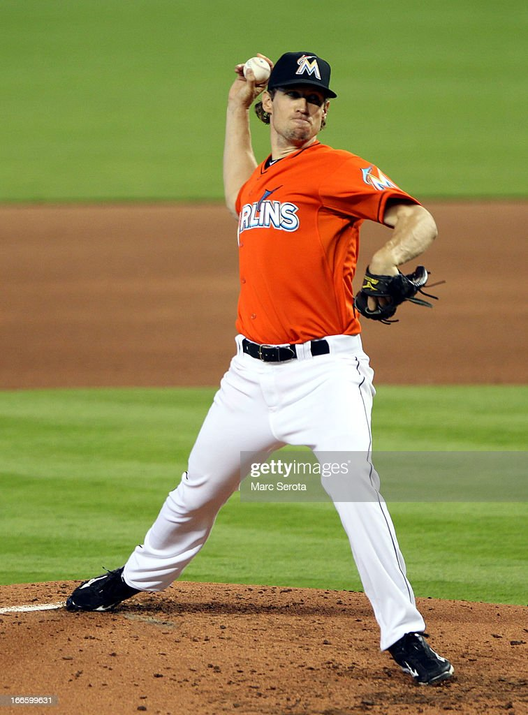 Pitcher <a gi-track='captionPersonalityLinkClicked' href=/galleries/search?phrase=Kevin+Slowey&family=editorial&specificpeople=4175279 ng-click='$event.stopPropagation()'>Kevin Slowey</a> #45 of the Miami Marlins throws against the Philadelphia Phillies in the first inning at Marlins Park on April 14, 2013 in Miami, Florida.
