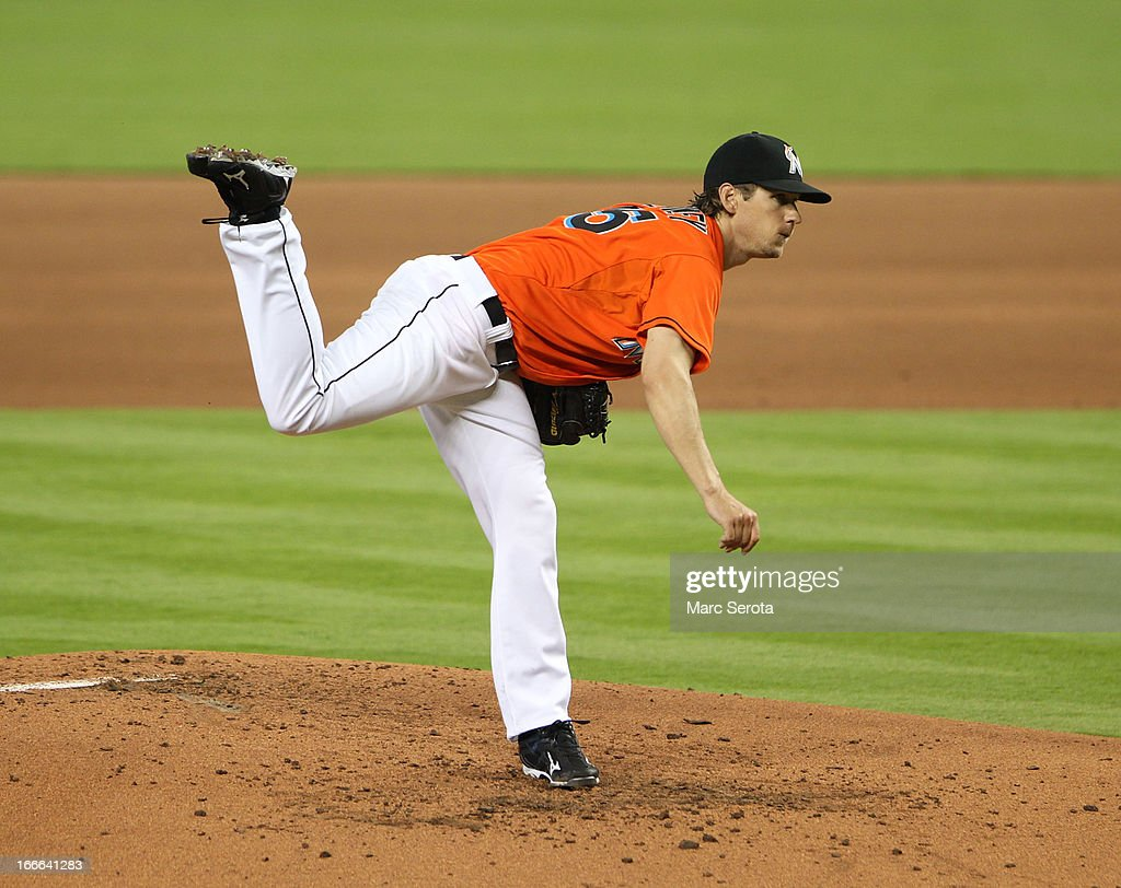 Pitcher <a gi-track='captionPersonalityLinkClicked' href=/galleries/search?phrase=Kevin+Slowey&family=editorial&specificpeople=4175279 ng-click='$event.stopPropagation()'>Kevin Slowey</a> #45 of the Miami Marlins throws against the Philadelphia Phillies in the first inning at Marlins Park on April 14, 2013 in Miami, Florida. The Phillies defeated the Marlins 2-1.