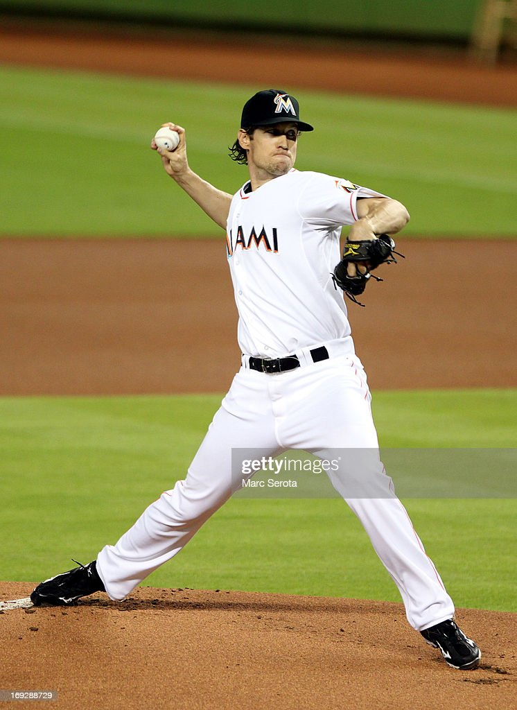 Pitcher <a gi-track='captionPersonalityLinkClicked' href=/galleries/search?phrase=Kevin+Slowey&family=editorial&specificpeople=4175279 ng-click='$event.stopPropagation()'>Kevin Slowey</a> #45 of the Miami Marlins throws against the Philadelphia Phillies in the first inning at Marlins Park on May 22, 2013 in Miami, Florida.