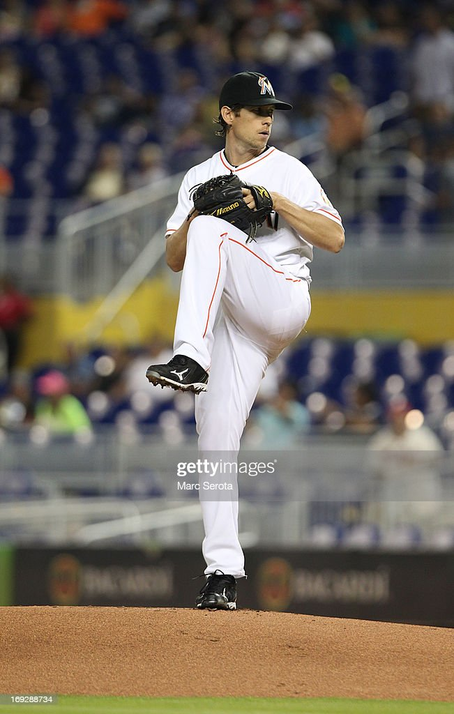 Pitcher Kevin Slowey #45 of the Miami Marlins throws against the Philadelphia Phillies in the first inning at Marlins Park on May 22, 2013 in Miami, Florida.