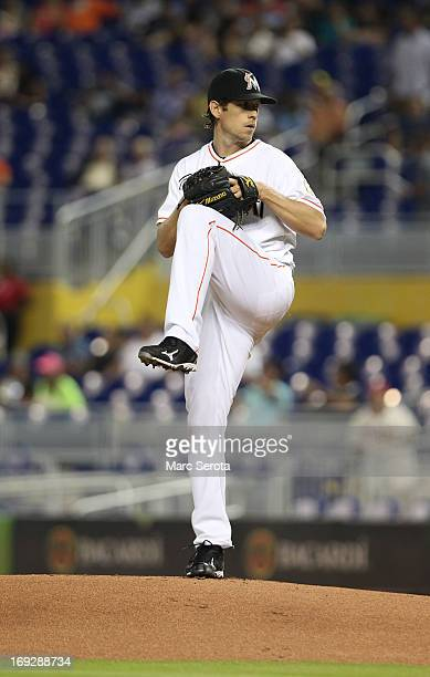 Pitcher Kevin Slowey of the Miami Marlins throws against the Philadelphia Phillies in the first inning at Marlins Park on May 22 2013 in Miami Florida