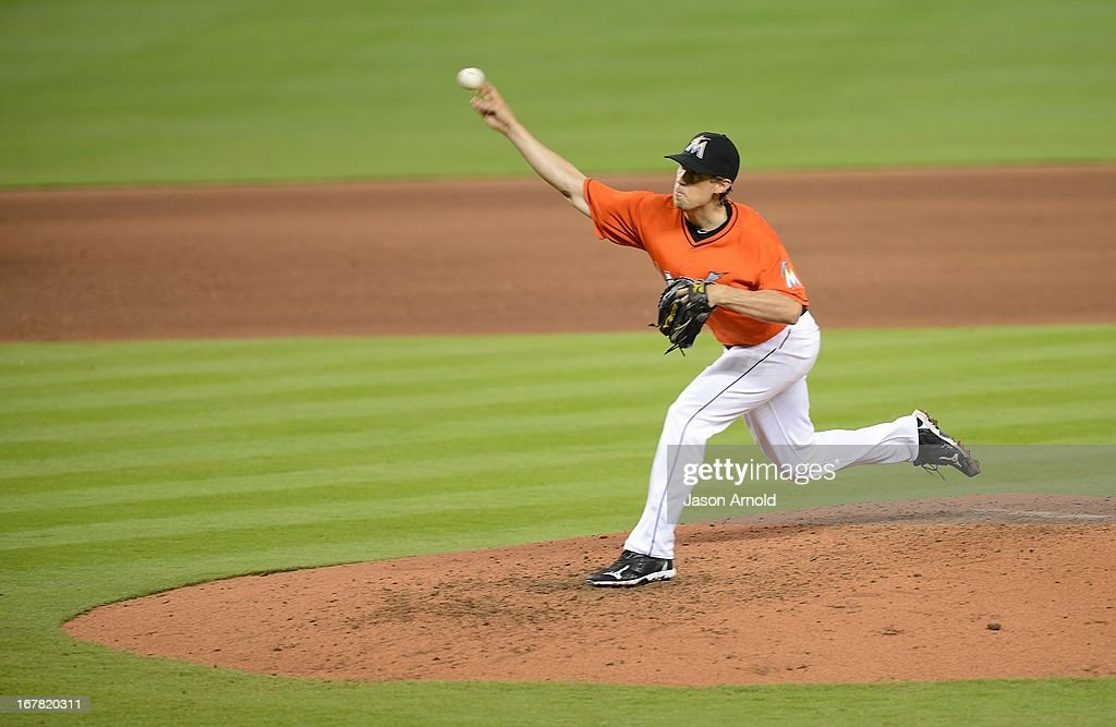 Pitcher Kevin Slowey #45 of the Miami Marlins throws against the New York Mets at Marlins Park on April 30, 2013 in Miami, Florida.