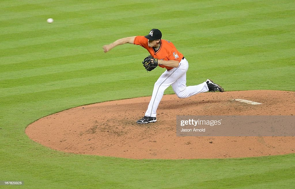 Pitcher <a gi-track='captionPersonalityLinkClicked' href=/galleries/search?phrase=Kevin+Slowey&family=editorial&specificpeople=4175279 ng-click='$event.stopPropagation()'>Kevin Slowey</a> #45 of the Miami Marlins throws against the New York Mets at Marlins Park on April 30, 2013 in Miami, Florida.
