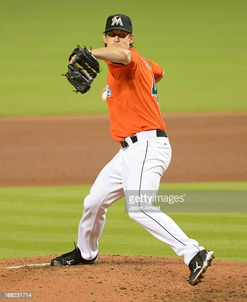 Pitcher Kevin Slowey of the Miami Marlins throws against the New York Mets at Marlins Park on April 30 2013 in Miami Florida