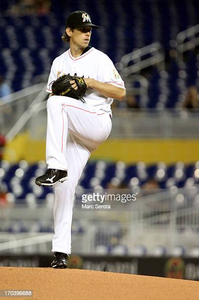 Pitcher Kevin Sowey of the Miami Marlins throws against the Milwaukee Brewers during the first inning at Marlins Park on June 12 2013 in Miami Florida
