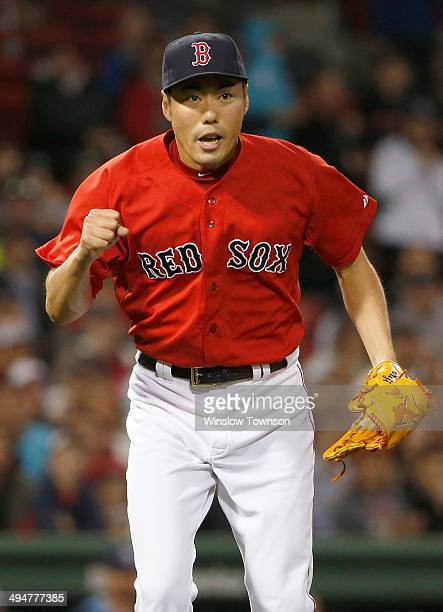 Pitcher Koji Uehara of the Boston Red Sox reacts during the ninth inning of the game against the Tampa Bay Rays at Fenway Park on May 30 2014 in...