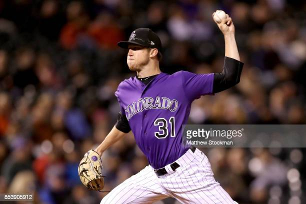 Pitcher Kyle Freeland of the Colorado Rockies throws in the sixth inning against the Miami Marlins at Coors Field on September 25 2017 in Denver...