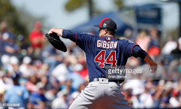 Pitcher Kyle Gibson of the Minnesota Twins pitches during the second inning of an MLB spring training game against the Tampa Bay Rays on March 6 2016...