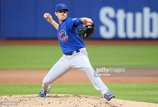 Pitcher Kyle Hendricks of the Chicago Cubs pitches against the New York Mets in the second inning against the Chicago Cubs on June 30 2015 at Citi...