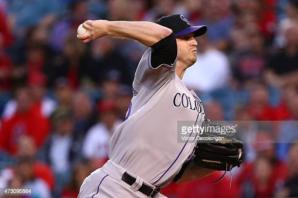 Pitcher Kyle Kendrick of the Colorado Rockies pitches in the second inning during the MLB game against the Los Angeles Angels of Anaheim at Angel...