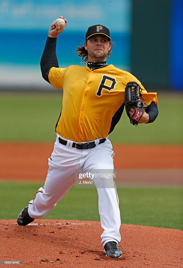 Pitcher Kyle McPherson #38 of the Pittsburgh Pirates pitches against the Houston Astros during a Grapefruit League Spring Training Game at McKechnie Field on March 3, 2013 in Bradenton, Florida.