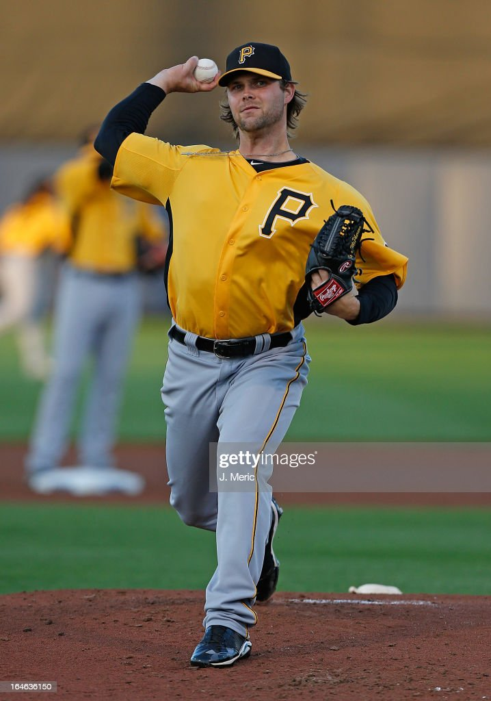 Pitcher Kyle McPherson #38 of the Pittsburgh Pirates pitches against the Tampa Bay Rays during a Grapefruit League Spring Training Game at the Charlotte Sports Complex on March 25, 2013 in Port Charlotte, Florida.