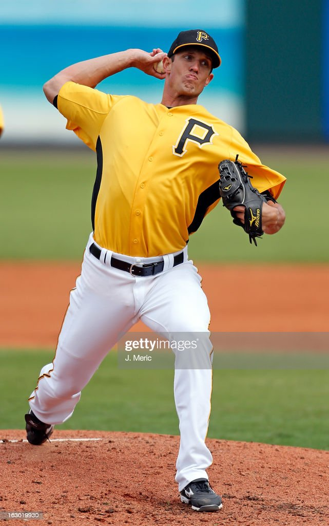 Pitcher Kyle Waldrop #77 of the Pittsburgh Pirates pitches against the Houston Astros during a Grapefruit League Spring Training Game at McKechnie Field on March 3, 2013 in Bradenton, Florida.
