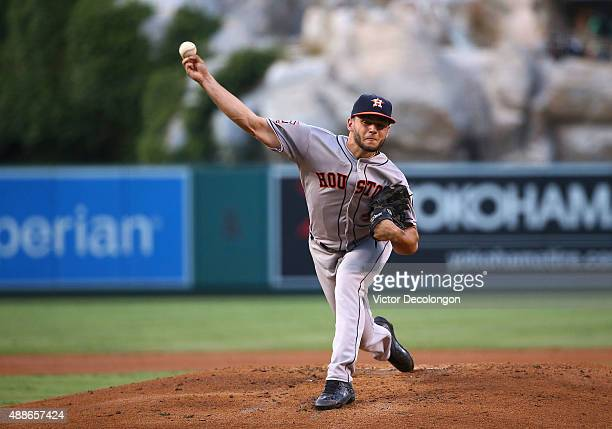 Pitcher Lance McCullers of the Houston Astros pitches in the first inning during the MLB game against the Los Angeles Angels of Anaheim at Angel...