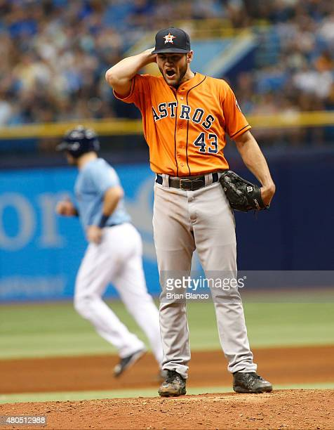 Pitcher Lance McCullers of the Houston Astros reacts on the mound after walking John Jaso of the Tampa Bay Rays with the bases loaded to score David...