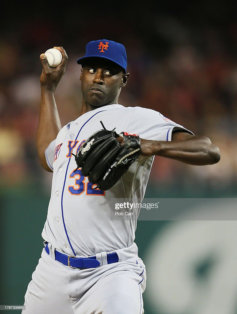 Pitcher LaTroy Hawkins of the New York Mets throws to a Washington Nationals batter during the ninth inning of the Mets 32 win at Nationals Park on...