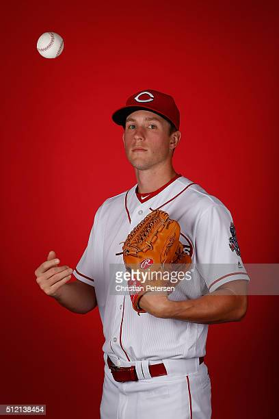 Pitcher Layne Somsen of the Cincinnati Reds poses for a portrait during spring training photo day at Goodyear Ballpark on February 24 2016 in...