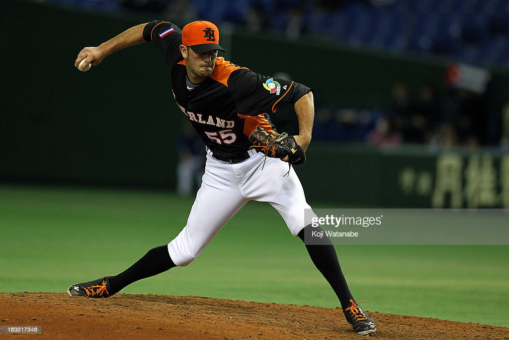 Pitcher Leon Boyd #55 of the Netherlands pitches during the World Baseball Classic Second Round Pool 1 game between Cuba and the Netherlands at Tokyo Dome on March 11, 2013 in Tokyo, Japan.