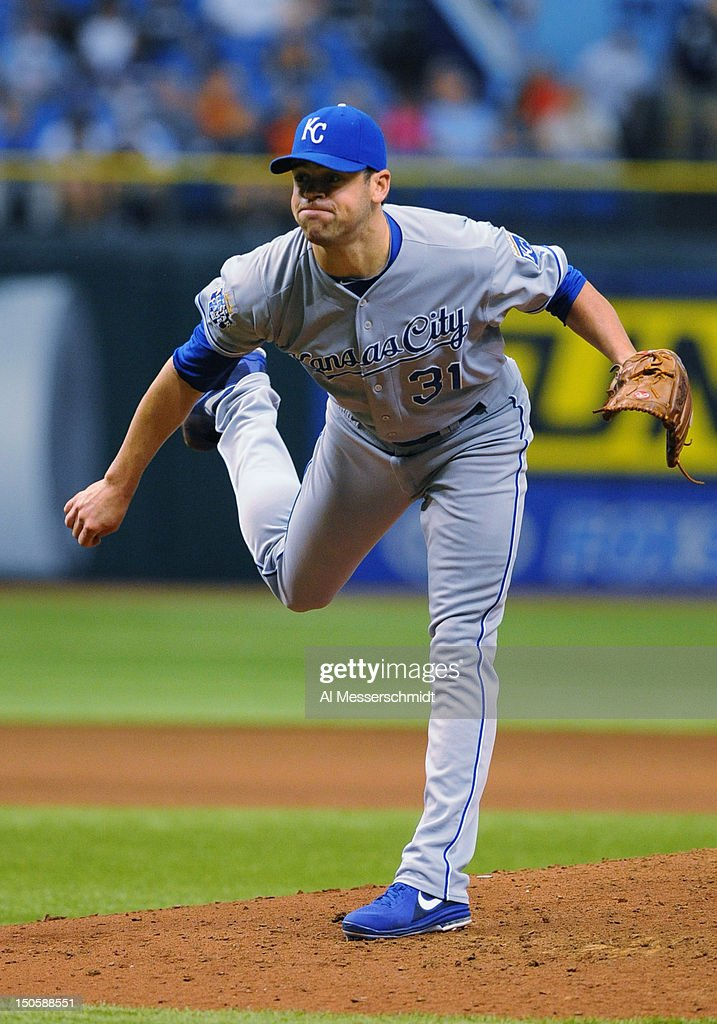Pitcher <a gi-track='captionPersonalityLinkClicked' href=/galleries/search?phrase=Louis+Coleman&family=editorial&specificpeople=2145489 ng-click='$event.stopPropagation()'>Louis Coleman</a> #31 of the Kansas City Royals throws in relief against the Tampa Bay Rays August 22, 2012 at Tropicana Field in St. Petersburg, Florida.