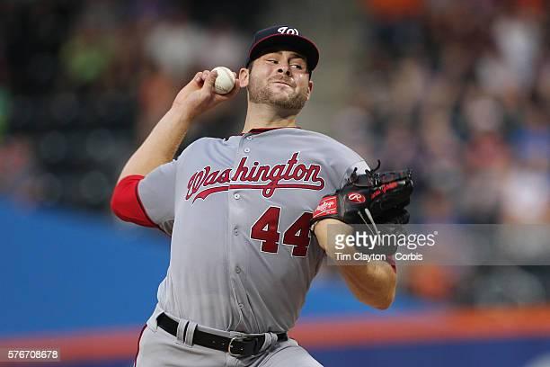 Pitcher Lucas Giolito of the Washington Nationals pitching during the Washington Nationals Vs New York Mets regular season MLB game at Citi Field on...