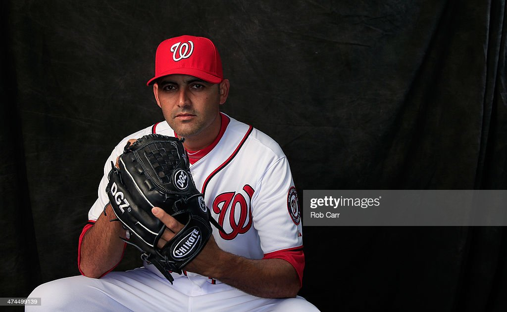 Pitcher <a gi-track='captionPersonalityLinkClicked' href=/galleries/search?phrase=Luis+Ayala&family=editorial&specificpeople=209039 ng-click='$event.stopPropagation()'>Luis Ayala</a> #56 of the Washington Nationals poses for a portrait during photo day on February 23, 2014 in Viera, Florida.