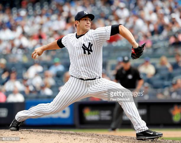Pitcher Luis Cessa of the New York Yankees pitches in an interleague MLB baseball game against the Cincinnati Reds on July 26 2017 at Yankee Stadium...