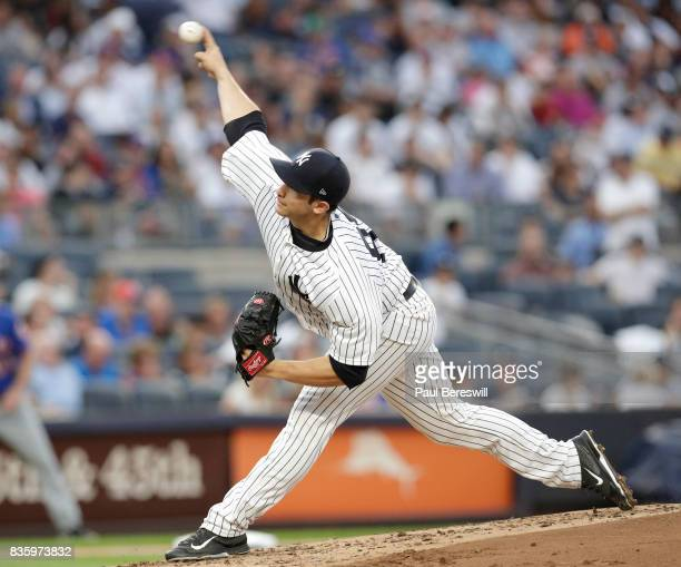 Pitcher Luis Cessa of the New York Yankees pitches in an MLB baseball game against the New York Mets on August 14 2017 at Yankee Stadium in the Bronx...