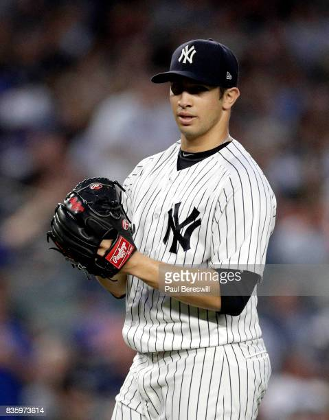 Pitcher Luis Cessa of the New York Yankees reacts during an MLB baseball game against the New York Mets on August 14 2017 at Yankee Stadium in the...