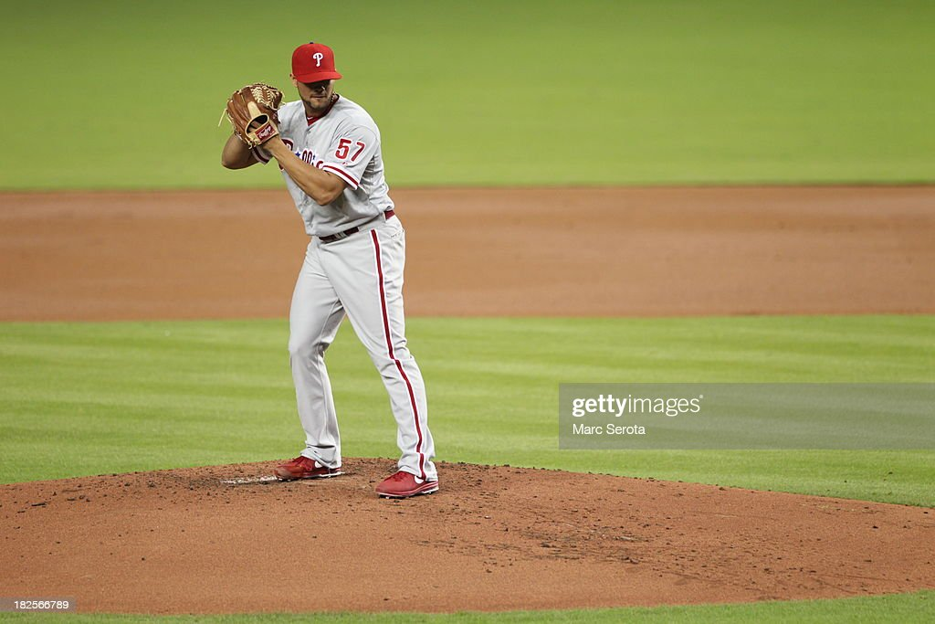 Pitcher Luis Garcia #57 of the Philadelphia Phillies throws against the Miami Marlins at Marlins Park on September 23, 2013 in Miami, Florida. The Marlins defeated the Phillies 4-0.