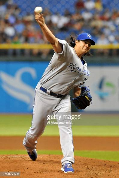 Pitcher Luis Mendoza of the Kansas City Royals starts against the Tampa Bay Rays June 14 2013 at Tropicana Field in St Petersburg Florida