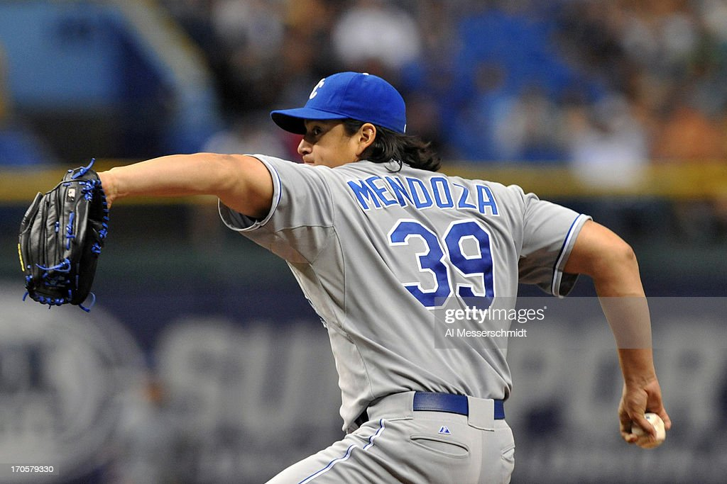 Pitcher <a gi-track='captionPersonalityLinkClicked' href=/galleries/search?phrase=Luis+Mendoza+-+Baseballspieler&family=editorial&specificpeople=9657658 ng-click='$event.stopPropagation()'>Luis Mendoza</a> #39 of the Kansas City Royals starts against the Tampa Bay Rays June 14, 2013 at Tropicana Field in St. Petersburg, Florida.