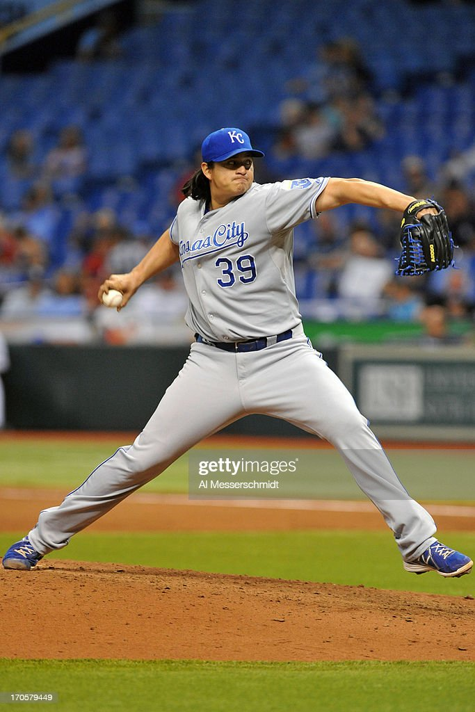 Pitcher <a gi-track='captionPersonalityLinkClicked' href=/galleries/search?phrase=Luis+Mendoza+-+Jugador+de+b%C3%A9isbol&family=editorial&specificpeople=9657658 ng-click='$event.stopPropagation()'>Luis Mendoza</a> #39 of the Kansas City Royals starts against the Tampa Bay Rays June 14, 2013 at Tropicana Field in St. Petersburg, Florida.