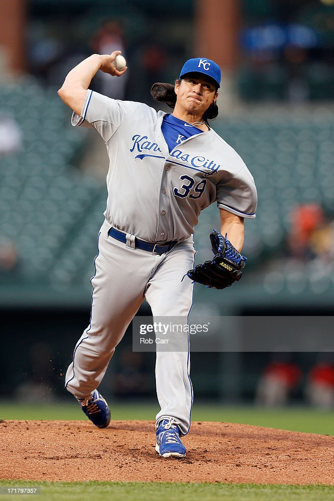 Pitcher Luis Mendoza of the Kansas City Royals throws to a Baltimore Orioles batter at Oriole Park at Camden Yards on May 8 2013 in Baltimore Maryland