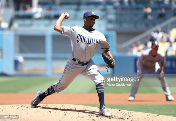 Pitcher Luis Perdomo of the San Diego Padres pitches during the first inning during the MLB game against the San Diego Padres at Dodger Stadium on...