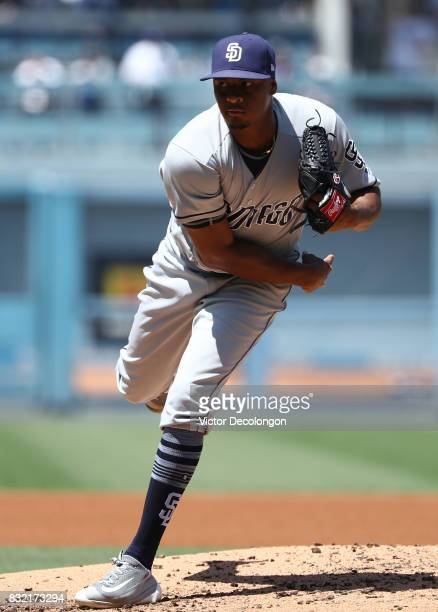 Pitcher Luis Perdomo of the San Diego Padres pitches during the third inning during the MLB game against the San Diego Padres at Dodger Stadium on...