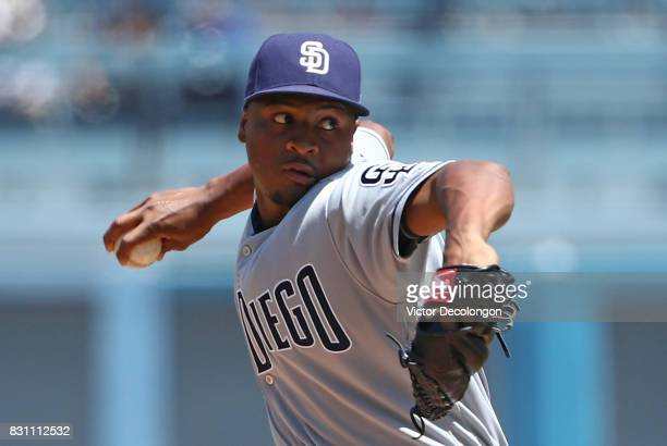 Pitcher Luis Perdomo of the San Diego Padres pitches in the first inning during the MLB game against the Los Angeles Dodgers at Dodger Stadium on...