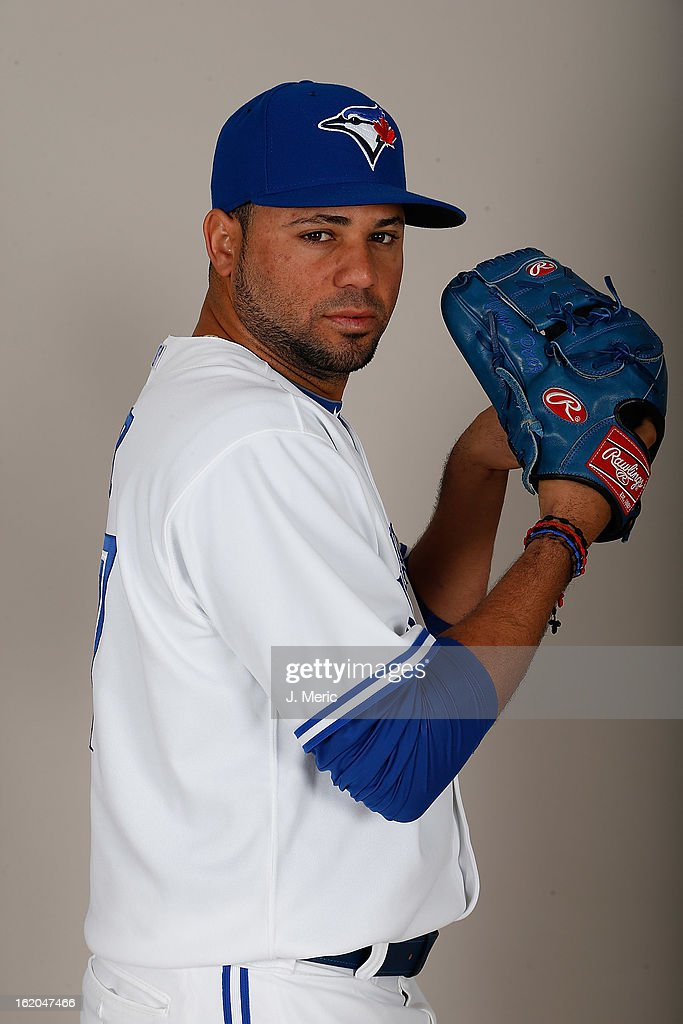 Pitcher Luis Perez #47 of the Toronto Blue Jays poses for a photo during photo day at Florida Auto Exchange Stadium on February 18, 2013 in Dunedin, Florida.