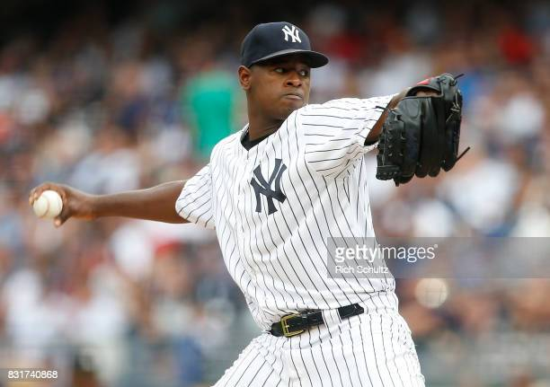 Pitcher Luis Severino of the New York Yankees delivers a pitch against the Boston Red Sox during a game at Yankee Stadium on August 12 2017 in the...