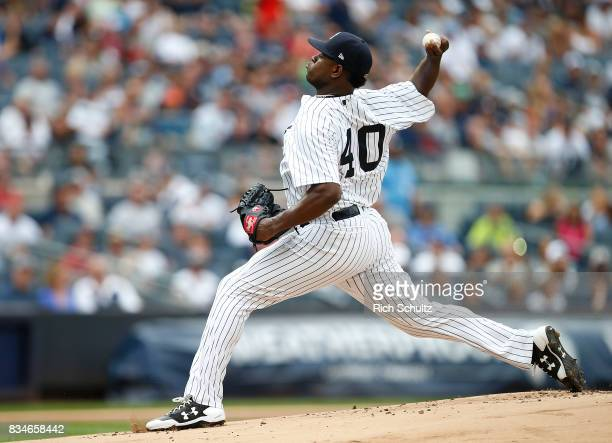 Pitcher Luis Severino of the New York Yankees in action against the Boston Red Sox during a game at Yankee Stadium on August 12 2017 in the Bronx...