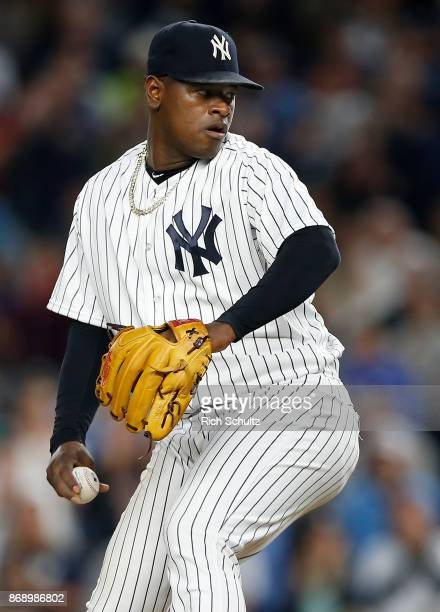 Pitcher Luis Severino of the New York Yankees in action against the Boston Red Sox during a game at Yankee Stadium on September 3 2017 in the Bronx...