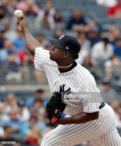 Pitcher Luis Severino of the New York Yankees pitches in an MLB baseball game against the Boston Red Sox on August 12 2017 at Yankee Stadium in the...