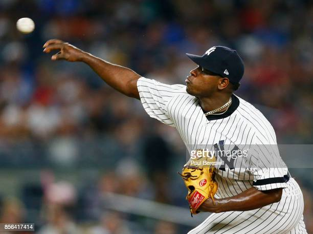 Pitcher Luis Severino of the New York Yankees pitches in an MLB baseball game against the Baltimore Orioles on September 15 2017 at Yankee Stadium in...