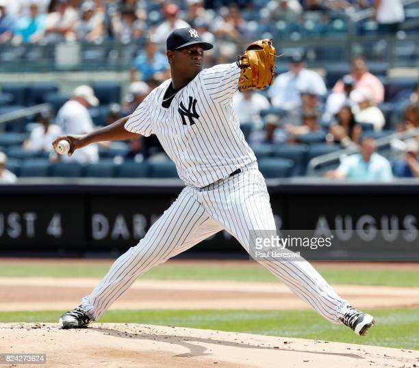 Pitcher Luis Severino of the New York Yankees pitches in an interleague MLB baseball game against the Cincinnati Reds on July 26 2017 at Yankee...