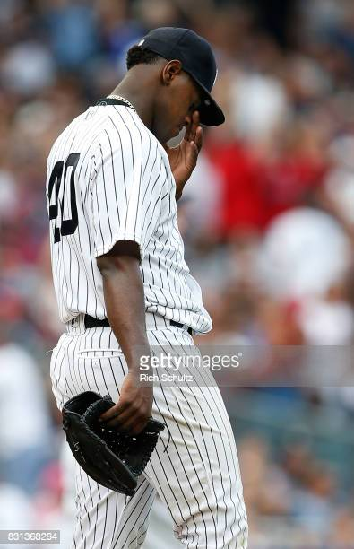 Pitcher Luis Severino of the New York Yankees reacts after being giving up a three run home run in the fifth inning to Andrew Benintendi of the...